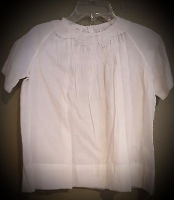 Vintage type handkerchief cotton infant dress w/ delicate embroidery and smockin