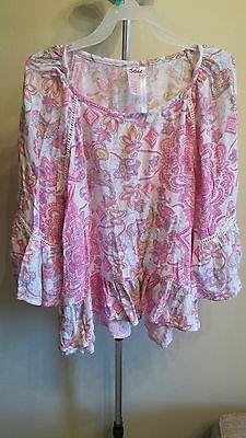 Girl's Justice Pink/White Floral Rayon 3/4 Sleeve Shirt, Size 16