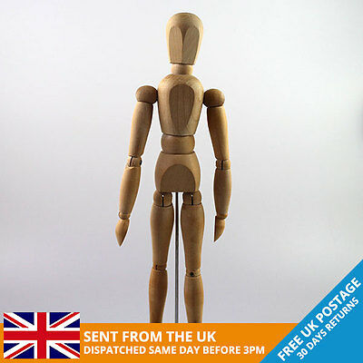Artists Posable Wooden Mannequin Doll | 30cm - 12 inch  | FREE UK DELIVERY