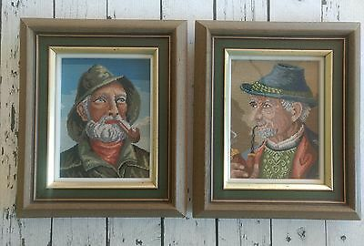 Vintage needlepoint completed, two men with pipes fisherman , framed