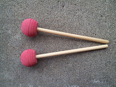New STEEL DRUM 6Bass PAN Wood MALLETS-Econosticks!Red