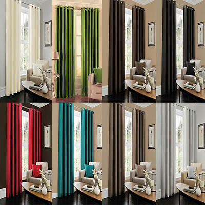 Thermal Blackout Curtains Luxury Ready Made Eyelet/Ring Top Fully Lined Curtains