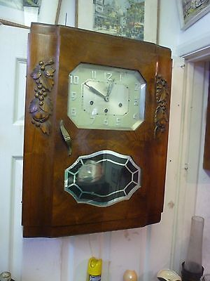 Rare Art Deco 4 Airs Wall Clock Westminster+3 Other Chimes Works Needs Service