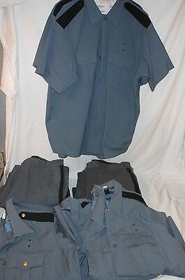 6 Vintage Retired Sheriff Police Gray Uniform Pants 42 & Shirts 2X 17 1/2