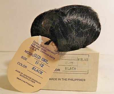 Doll Wig - Suzi Girl - Size 11-12 - Black- Global Dolls In Original Box & Tag