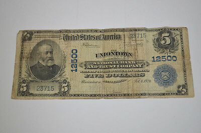 1924 $5 Five Dollars Series of 1902 Uniontown Pennsylvania National Currency