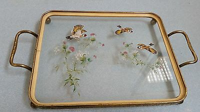 Vintage glass & metal dressing table tray with birds and thistles detail
