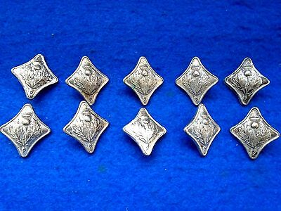 10 Scottish Argyll Jacket/tunic Thistle Buttons High Quality Silver Plated 27Mm