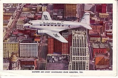 Eastern Air Lines DC-3 over Houston,TX Issue Postcard