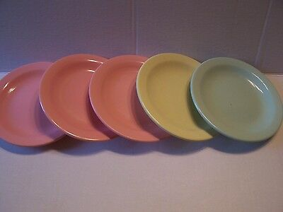 "Vintage Lot  5 Mid Century Boonton Ware Mint Green Pink 6"" Plate Lot Melmac 5106"