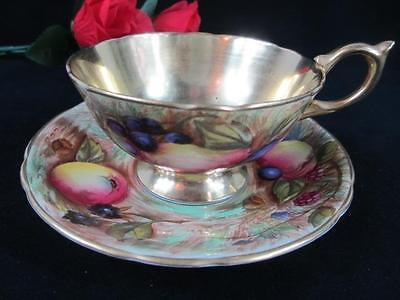 1930s Aynsley SIGNED D. JONES ORCHARD FRUIT #C746 Gilded Cup & Saucer