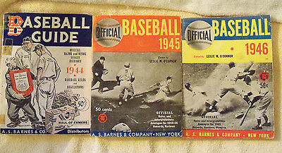 1944 1945 1946 BARNES BASEBALL GUIDES 3 different