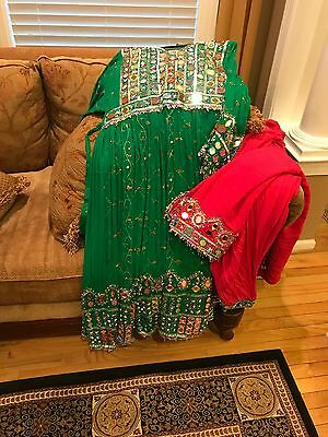 afghan clothes! Green dress with pink pants! fits all