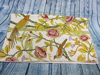 Vintage VIBRANT French Thick Linen Birds of Paradise Fabric