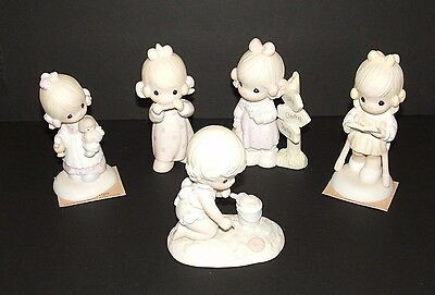 5 Precious Moments Lot Figurines Jesus Is The Light, Lord Give Me A Song & More!