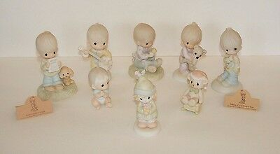 8 Precious Moments Lot Figurines Jesus Loves Me, God Understands, & More 70s 80s