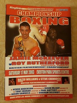 2003 Jamie McKeever Vs Roy Rutherford British Title Boxing Programme