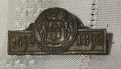 Antique Pin 1492 - 1892 Commemorating Columbus depicts colonist and native