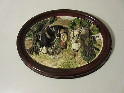 collectors Brush Strokes 3D Wall Plaque.  COUNTRY SCENE