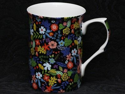 STECHCOL NOCTURNE MULTICOLOR CHINTZ FLOWERS Bone China Cylinder Mug