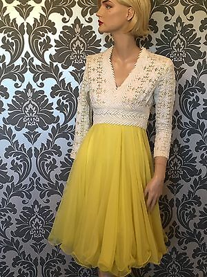 LILLIE RUBIN Vintage Party Dress 1960s Lace And Chiffon