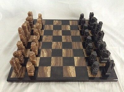 "Vintage Hand Carved Chess Set-Onyx And Marble--13 1/2"" Board"