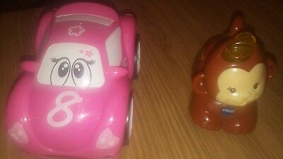 chicco turbo touch pinky car and v tech toot toot monkey. Animal car both workin