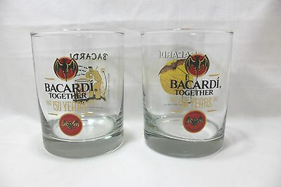 Bacardi Rum 150 Years Celebration Glasses - Limited Edition 2/4 And 3/4