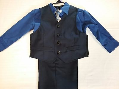 NEW Boys KENNETH COLE Blue/Navy 4 Piece Vest Dress Suit Sz- 2T