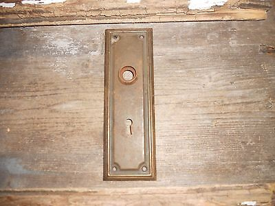 Vtg Rustic Metal Mission Raised Edge Door Knob Skeleton Key Hole Back Plate