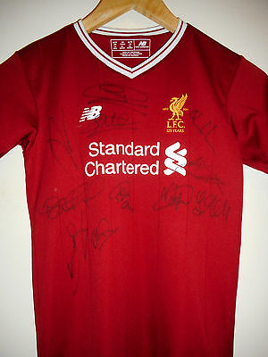Liverpool signed football shirt by 2016-17 team with COA inc mane & coutinho