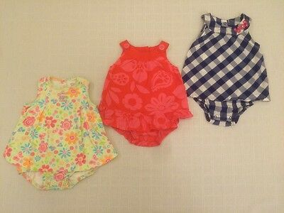 Carter's Girls Summer Romper Bubble Outfit Lot 12 Mos Floral Pink Red Blue White