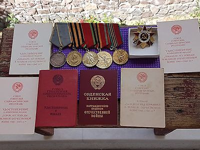 Original WW2 USSR set of orders and medals with documents for one person!