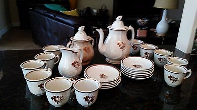 Antique Coffee Set Royal Stoneware Clementson Bros Hanley Ea Piece Hand Painted