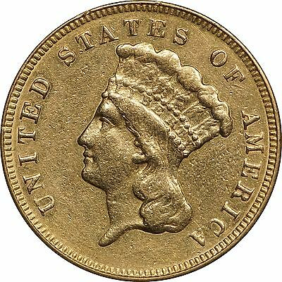 1874 Princess Head $3 Gold, AU Details, Cleaned