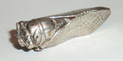 Antique Vintage Deco French Silvered Brass Beetle Cicada Bug Insect Pin Brooch