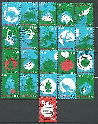 ˳˳ ҉ ˳˳NE03 Netherlands Nederland December Stamps Christmas 1998 complete set 21