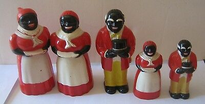 Aunt Jemima Uncle Moses Salt & pepper shakers and syrup dispenser