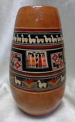 Estate Found Vintage Peruvian Pottery Vase w. Variety of Tribal Style Patterns