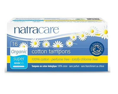 NATRACARE ORGANIC COTTON TAMPONS with APPLICATOR 16-SUPER - 100% COTTON NO SCENT