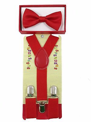 Simple & Elegant Suspender and Bow Tie Set for Boys Girls Children Red