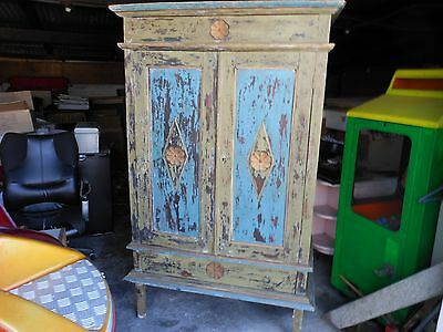 Wood Armoires Cabinet Hand Painted  Vintage.