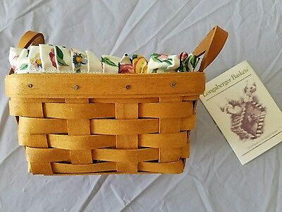 Vtg 1996 LONGABERGER BASKETS Handwoven Classic Tea Basket Floral Lining Wicker