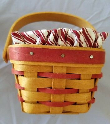 LONGABERGER 1995 SWEETHEART BASKET Swing Handle red splits Protector VGC