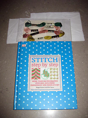 STITCH: Step by Step Embroidery/Needlework Book. New,inc threads & canvas