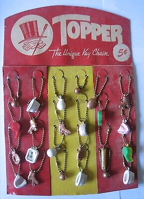 Topper key chains and charms display card Five Cent full 24 items