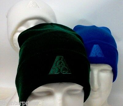 Turn Up Beanie BA Logo Tone ON Tone Knitted Beanie Royal, Bottle, white