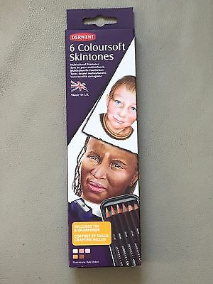 Derwent Coloursoft Skintones Colouring Pencils Tin with Sharpener Set of 6