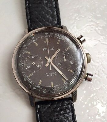 Rare Montre Mécanique CHRONOGRAPH KELEK. Old  Watch. MILITARY, PILOTE
