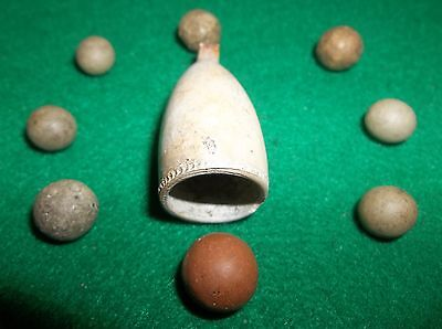 GAME STONE PREHISTORIC MARBLES and BEAUTIFUL 1600s TRADE PIPE AUTHENTIC RELICS